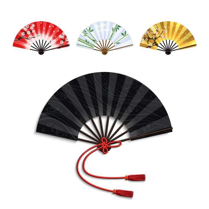 4种颜色和花纹的传统折扇图片免抠矢量图素材