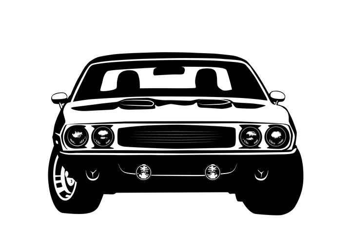 黑白画风格一辆小汽车正面免抠矢量图素材