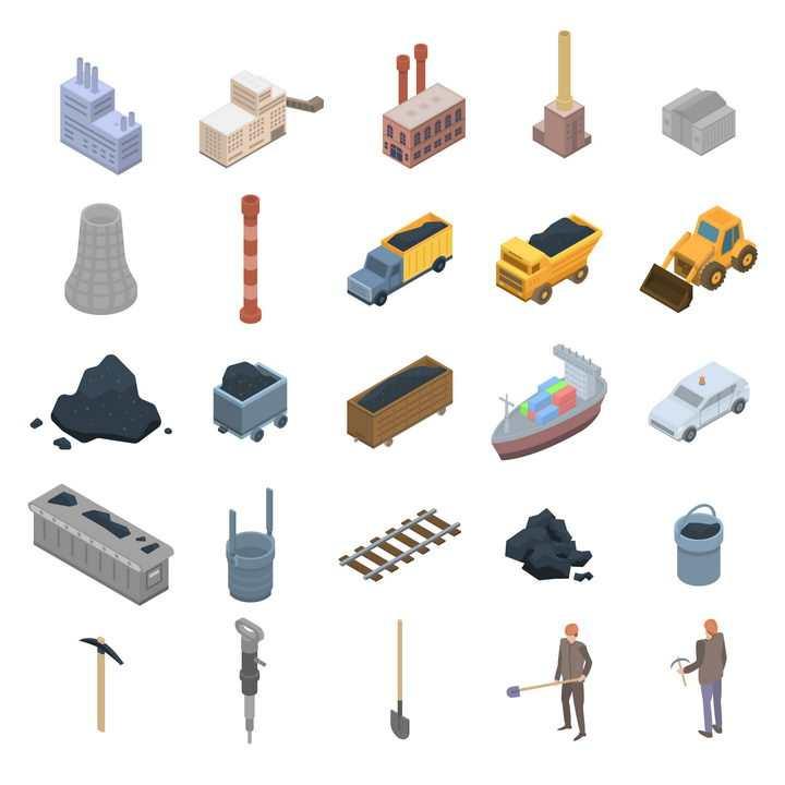 25款2.5D风格工厂厂房运煤卡车推土机采矿冶金工业图片免抠矢量素材