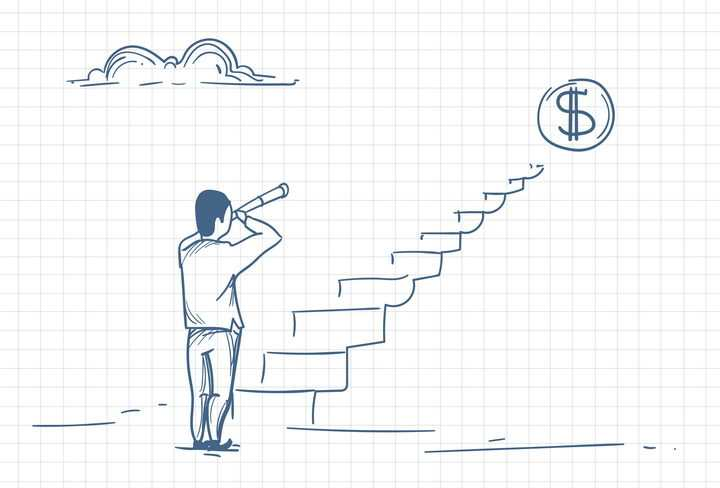 圆珠笔画涂鸦风格拿着望远镜观望台阶上象征金钱的美元符号职场人际交往配图图片免抠矢量素材