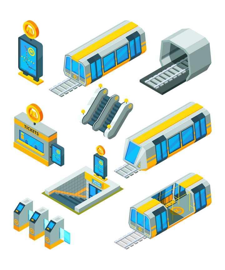 2.5D风格地铁运行城市轨道交通检票口等附属设施图片免抠矢量素材