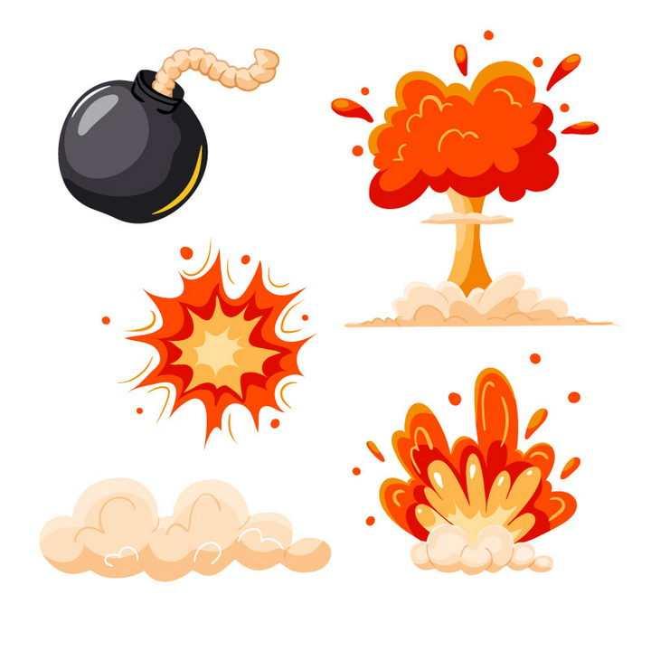 手绘卡通炸弹和爆炸效果图片免抠素材