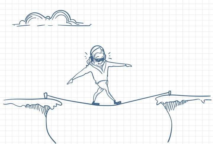圆珠笔画涂鸦风格毫无畏惧走钢丝绳职场人际交往配图图片免抠矢量素材