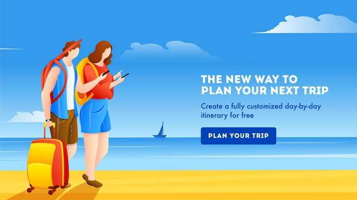 扁平化海滩旅游计划着落页设计方案图片免抠矢量素材