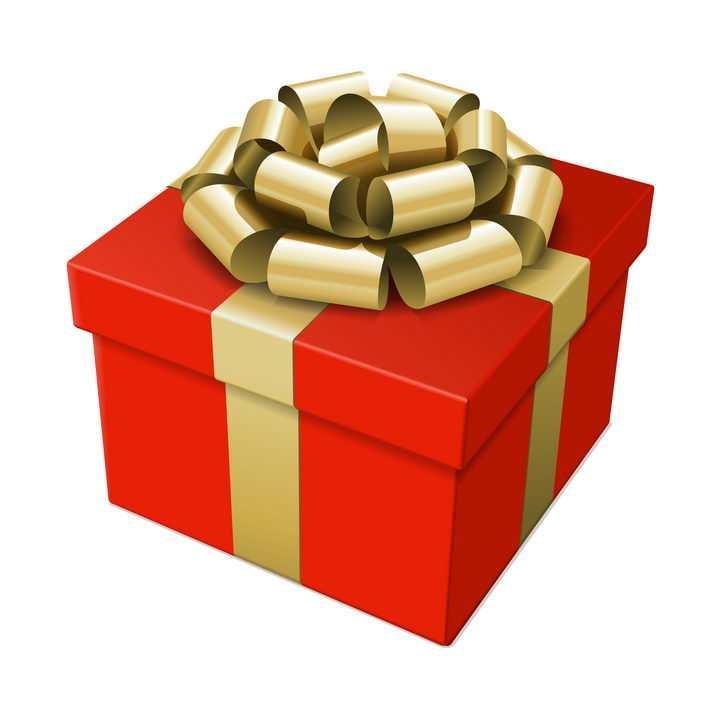 红色礼物盒和金色包装带系成的蝴蝶结图片免抠素材
