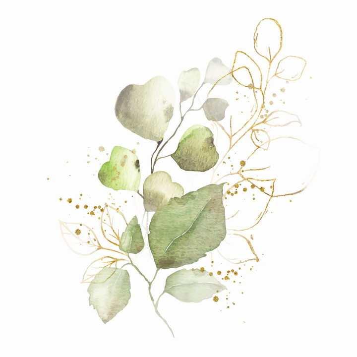 水彩画风格树叶叶子图片免抠素材