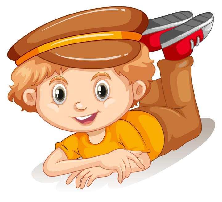 趴在地上的可爱卡通小男孩图片免抠矢量图素材