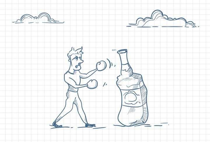 圆珠笔画涂鸦风格跟酒瓶拳击酗酒戒酒职场人际交往配图图片免抠矢量素材