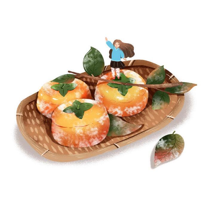 手绘插画风格柿饼美味小吃零食图片免抠png素材 生活素材-第1张