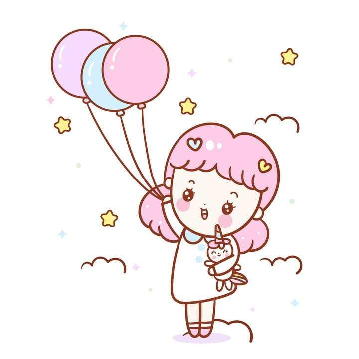 牵着粉色气球的卡通小女孩图片免抠矢量图素材