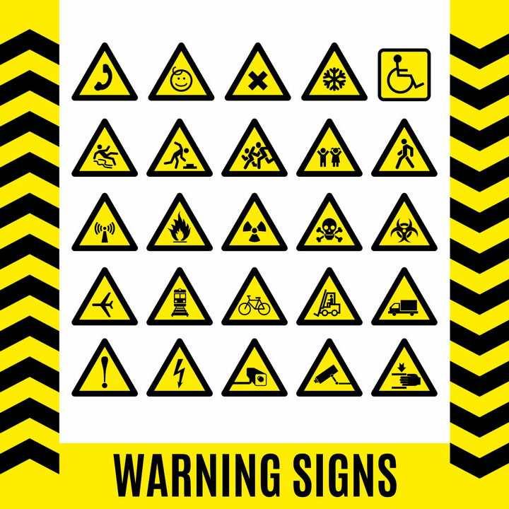 25款三角形小心滑倒等各类提示牌警告标志警示标牌图片免抠矢量素材