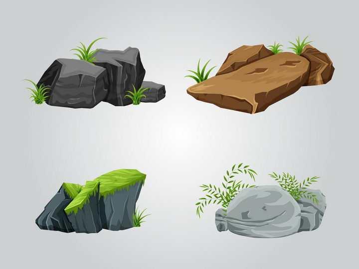 4款长有青草和苔藓的石头石块岩石自然景观图片免抠矢量素材