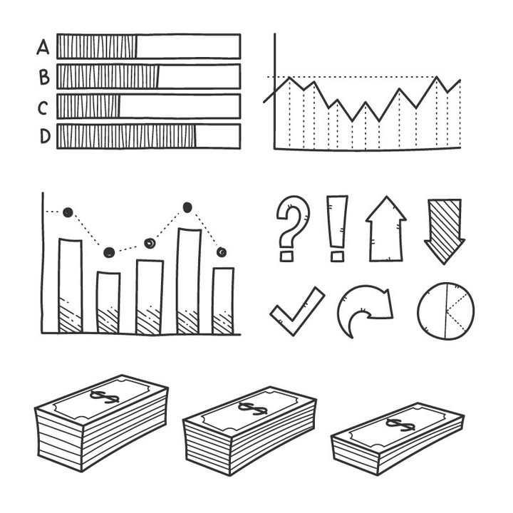 手绘黑色线条风格折线图箭头美元等PPT元素图片免抠矢量素材