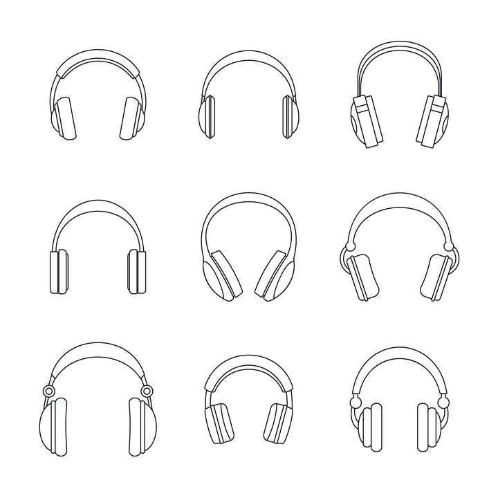 9款黑色轮廓线条头戴式耳机耳麦图片免抠素材