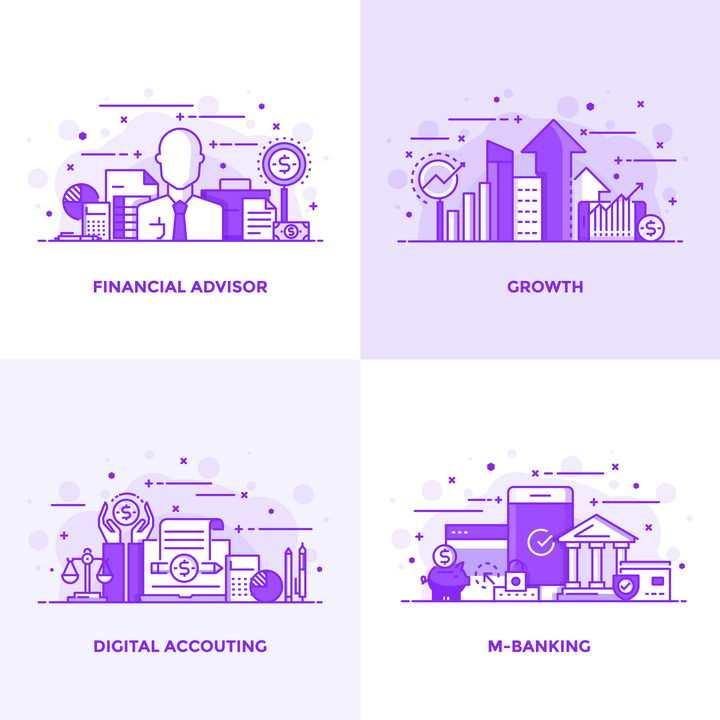 MBE风格紫色网上创业网上数据分析网上办公网上支付图片免抠素材