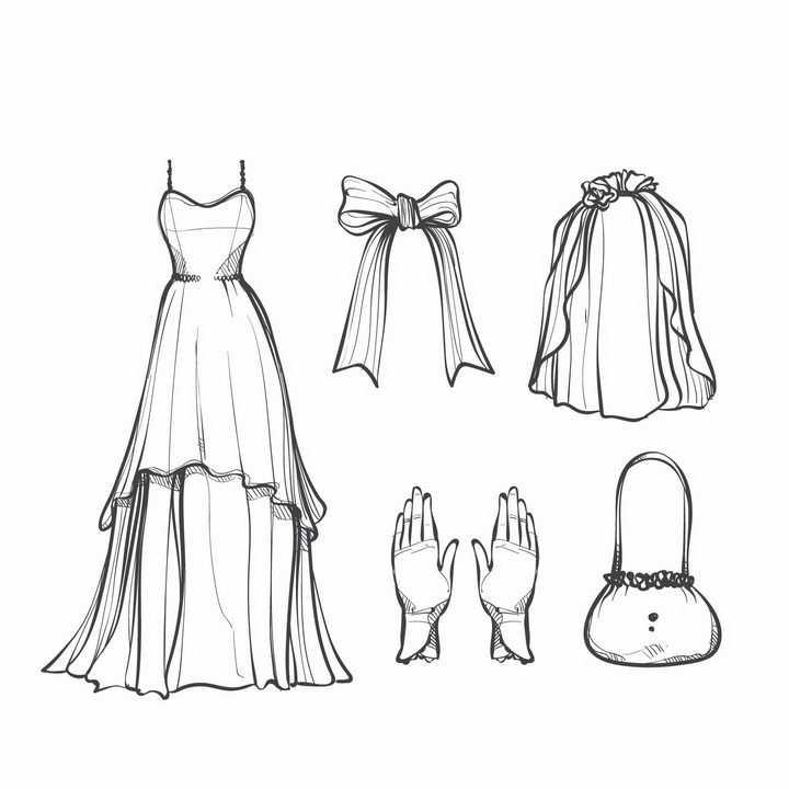 手绘线条素描风格婚纱设计图png图片免抠矢量素材