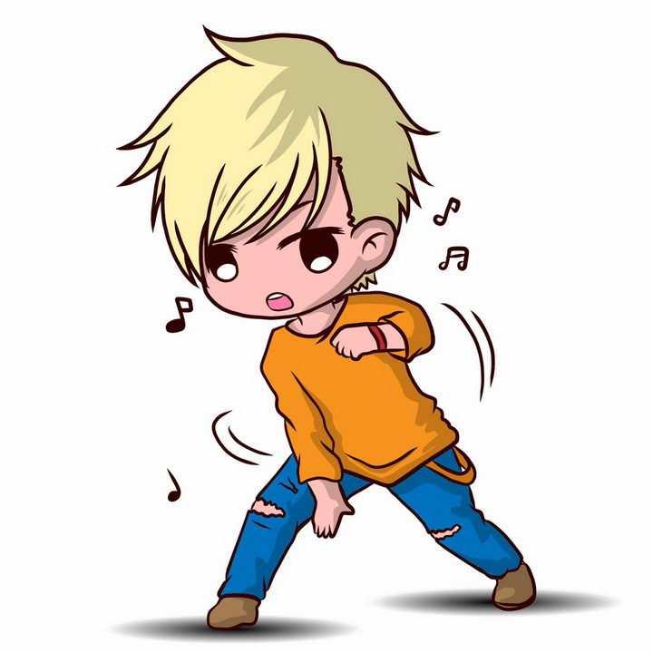 正在跳舞跳街舞的卡通男孩png图片免抠矢量素材