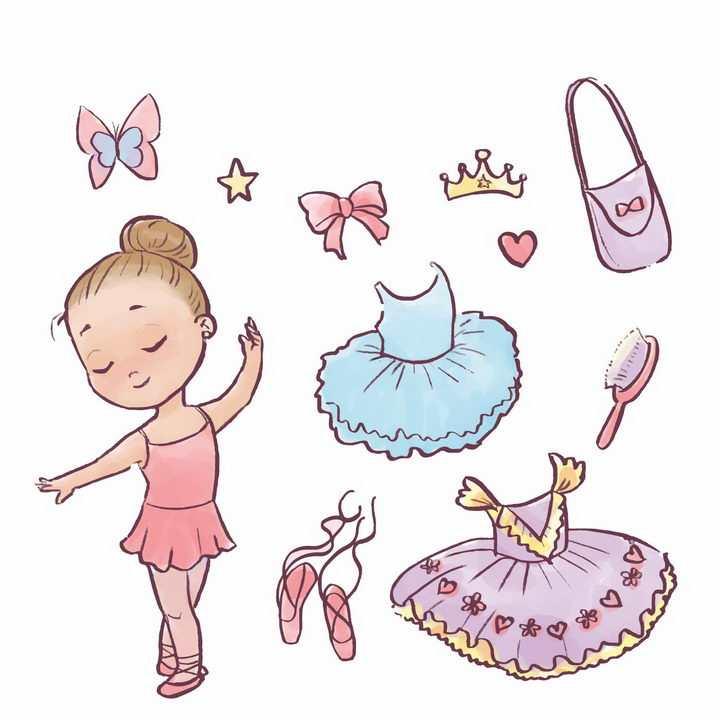 卡通小女孩正在跳芭蕾舞还有各种芭蕾舞鞋裙子等png图片免抠矢量素材