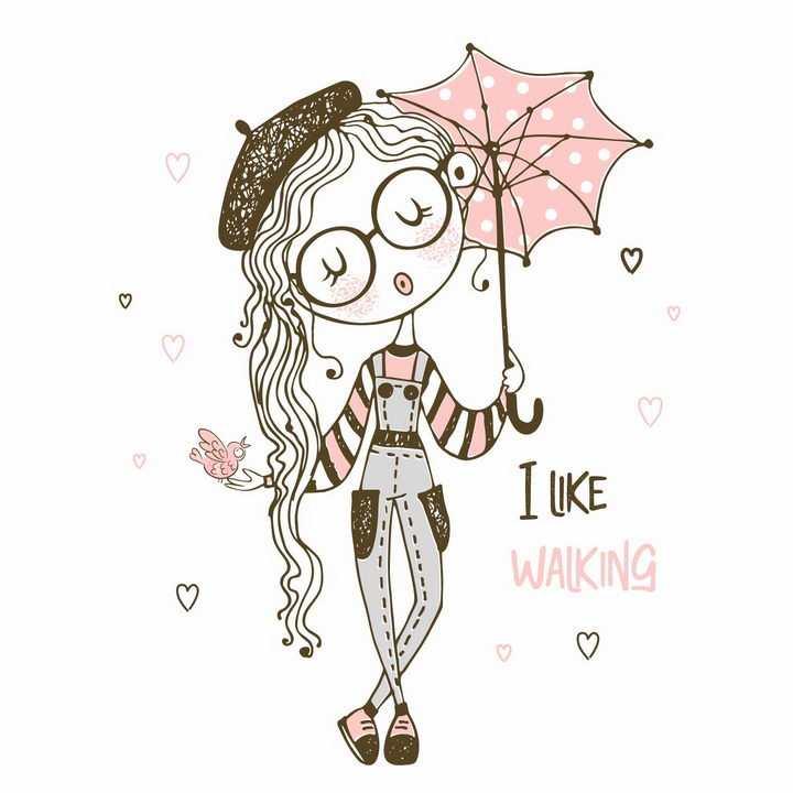 打着粉色雨伞遮阳伞的卡通美少女png图片免抠eps矢量素材