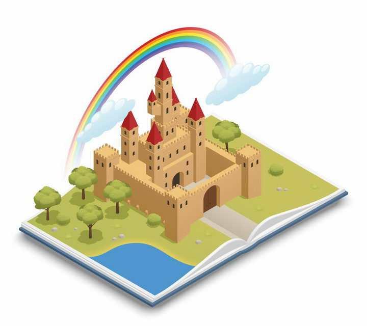 2.5D风格打开书本上的立体童话城堡和彩虹png图片免抠矢量素材