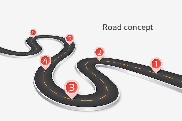 蜿蜒的S型公路道路红色定位标志PPT元素图片免抠矢量素材