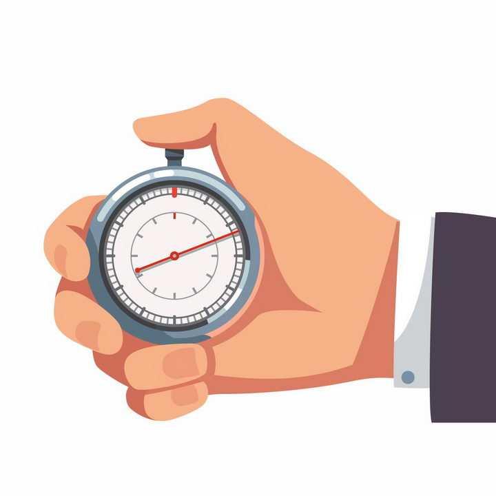 一只手掐着秒表准备计时png图片免抠矢量素材