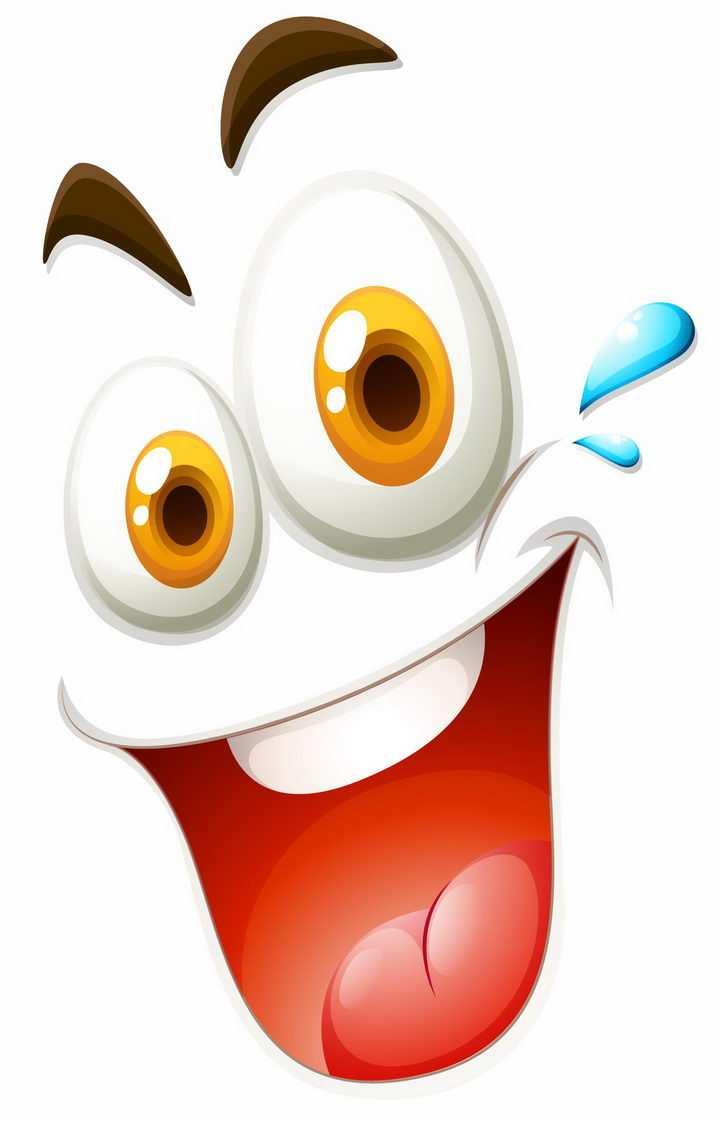 大大的眼睛大笑的嘴巴卡通表情png图片免抠矢量素材