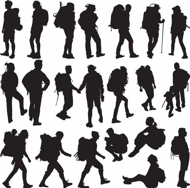登山者户外旅行者背包客徒步者人物剪影png图片免抠矢量素材