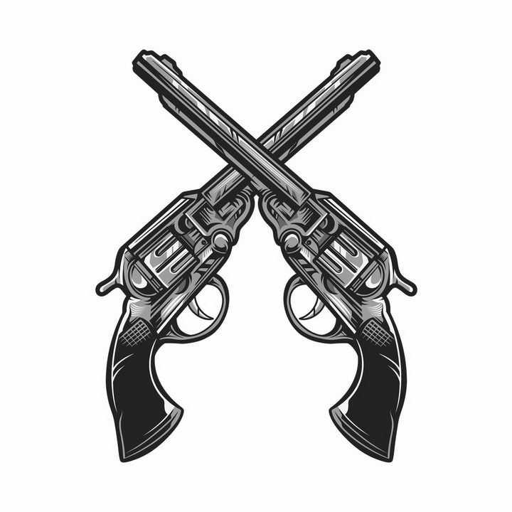 两把黑白色左轮手枪交叉在一起png图片免抠矢量素材