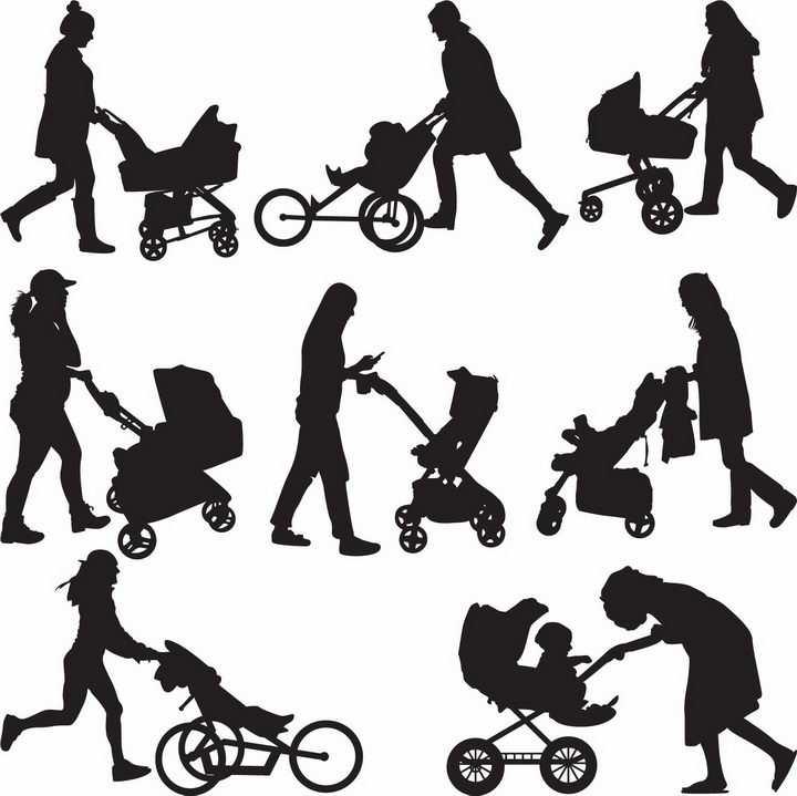 年轻的妈妈用婴儿车推着宝宝亲子人物剪影png图片免抠矢量素材
