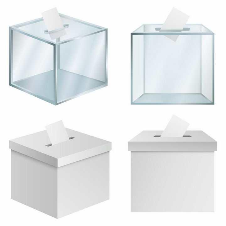 4款玻璃箱塑料箱投票箱png图片免抠矢量素材