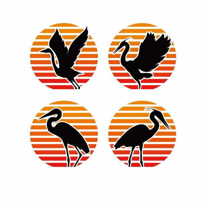横条背景前的仙鹤丹顶鹤优雅的鸟儿剪影logo设计方案png图片免抠矢量素材