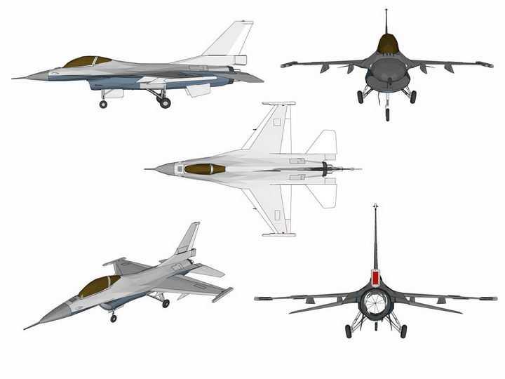 5款不同角度的F16战斗机飞机png图片免抠矢量素材