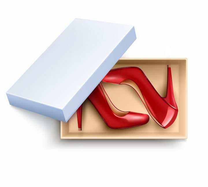 放在鞋盒中的红色高跟鞋png图片免抠矢量素材