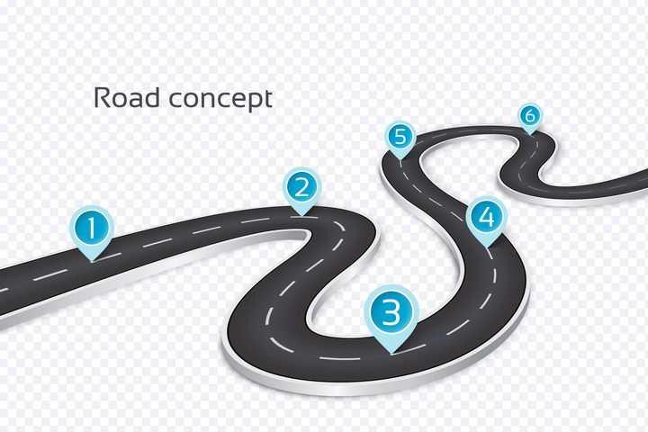 蜿蜒的S型公路道路蓝色定位标志PPT元素图片免抠矢量素材