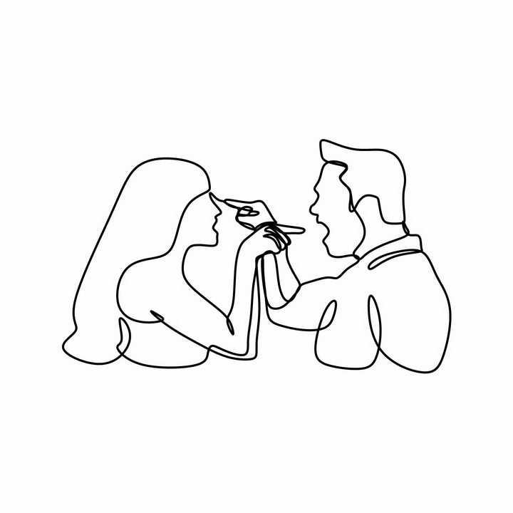 线条组成的相互指责对方的夫妻情侣吵架的男女png图片免抠eps矢量素材