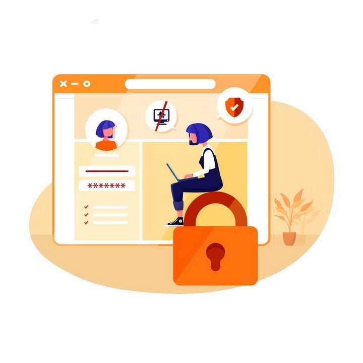 扁平化风格正在招聘网站上浏览求职者简历信息的HR png图片免抠矢量素材