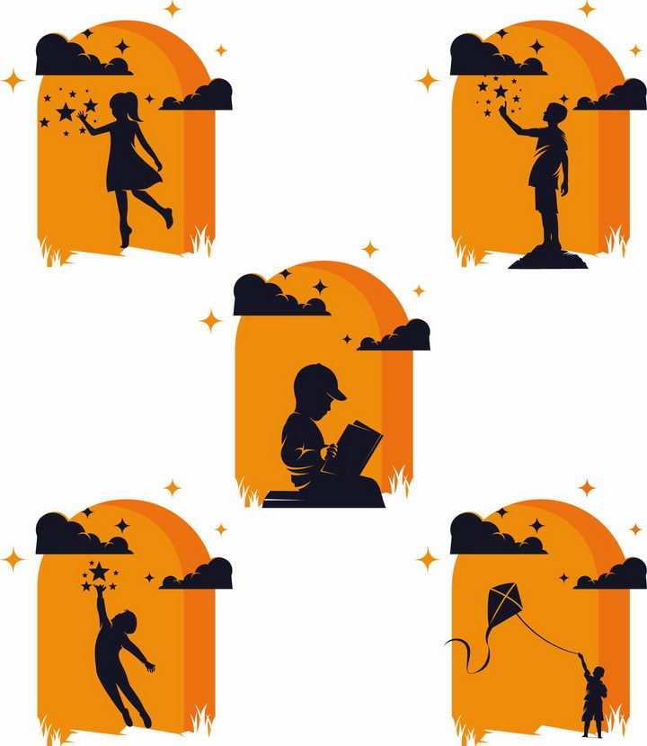 5款橙色背景看书看星星放风筝的孩子儿童剪影png图片免抠矢量素材