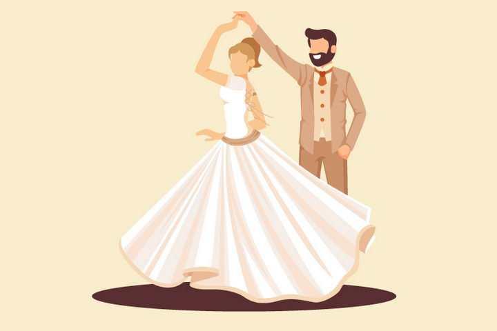 扁平化风格正在跳舞的新娘和新郎png图片免抠矢量素材