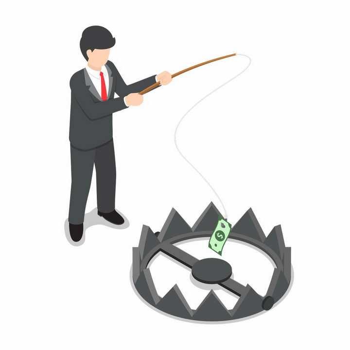 西装男人正在用美元钓鱼遇到捕兽夹陷阱象征投资失败png图片免抠矢量素材
