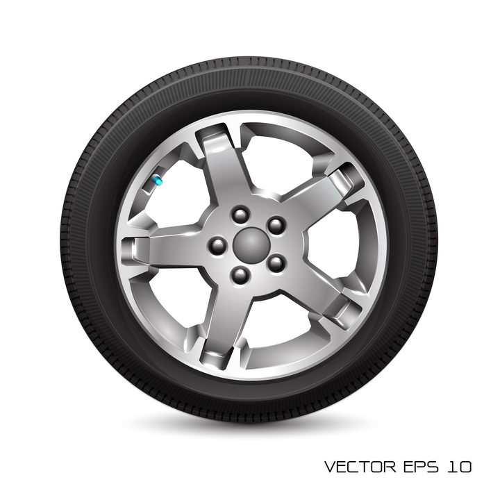 逼真的汽车轮胎和银色铝合金轮毂侧面图png图片免抠矢量素材