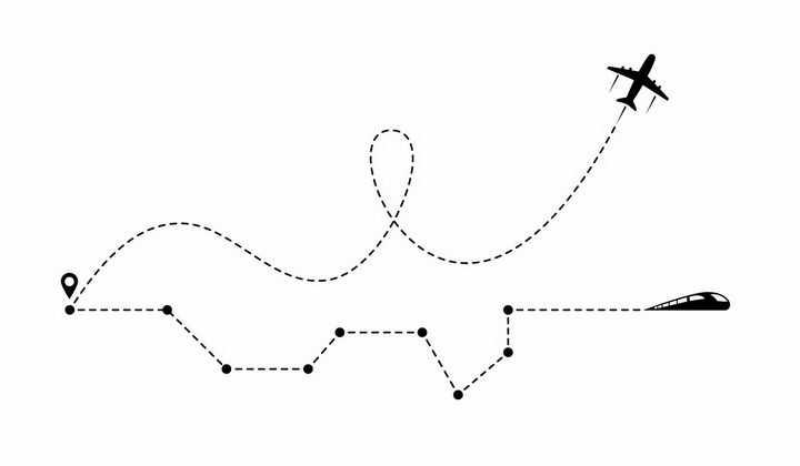 相同起点飞机飞行线路和高铁线路对比图png图片免抠矢量素材