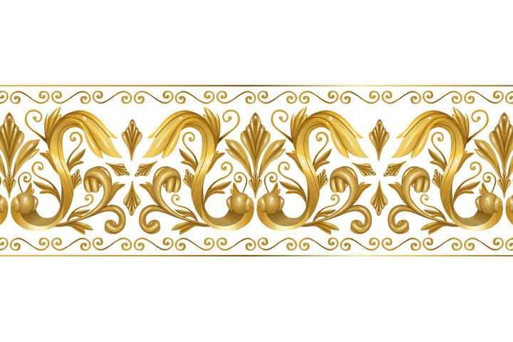 复古风格立体金色花纹树叶装饰图片免抠矢量素材