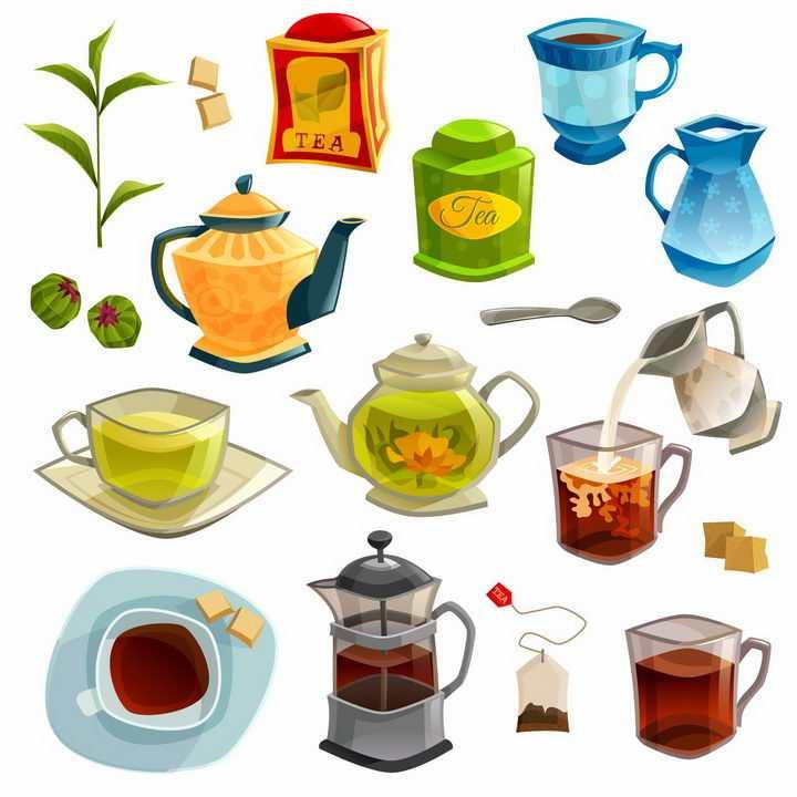 各种茶壶泡茶茶道全套茶具png图片免抠eps矢量素材