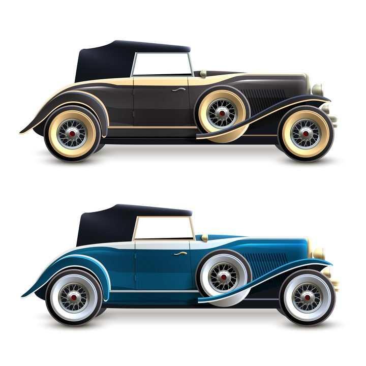 两款老爷车古典车侧面图png图片免抠矢量素材