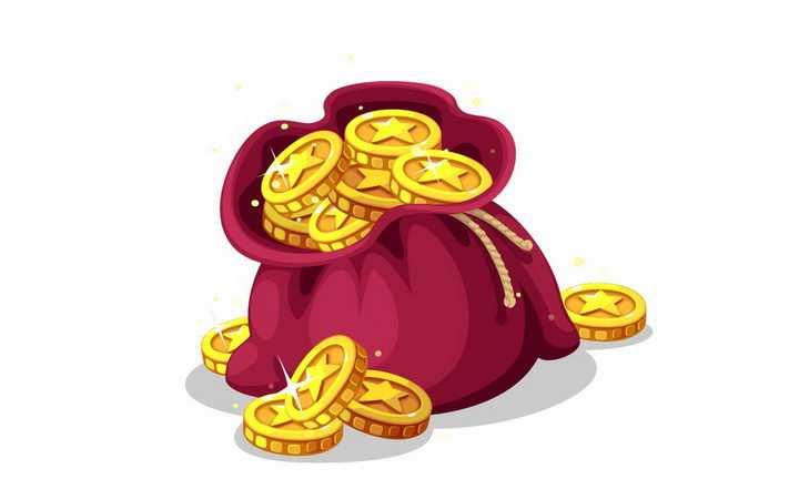 装在红色钱袋中的闪闪发光的金币png图片免抠矢量素材