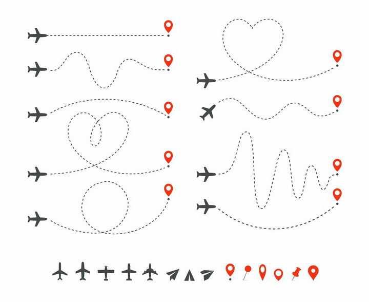 各种飞机飞行路线虚线图标png图片免抠矢量素材