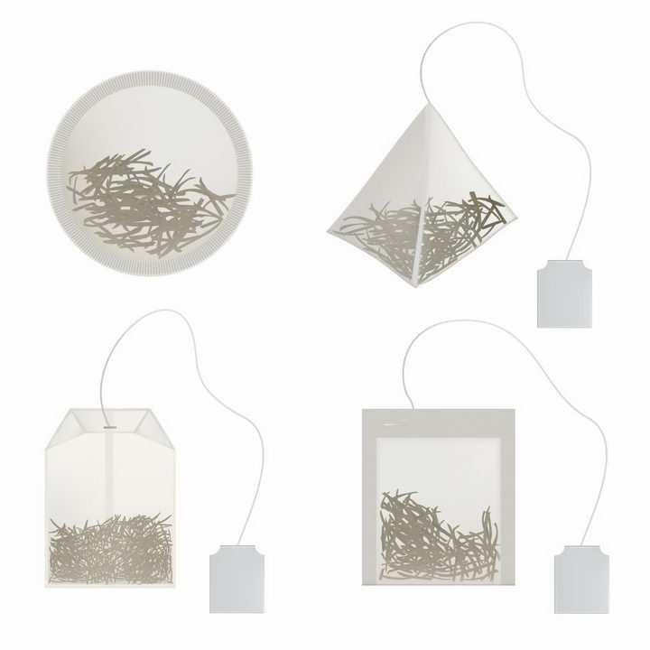 4种包装的袋泡茶包茶叶饮料png图片免抠eps矢量素材