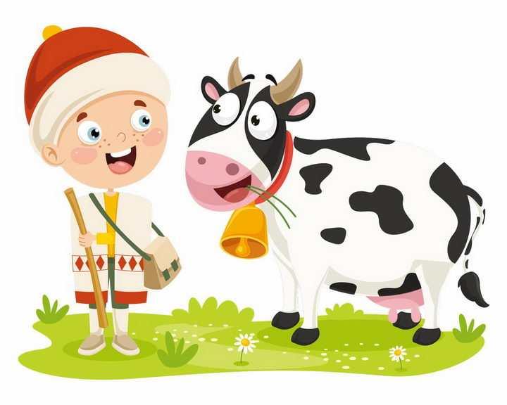 正在吃草的卡通奶牛和小男孩png图片免抠矢量素材