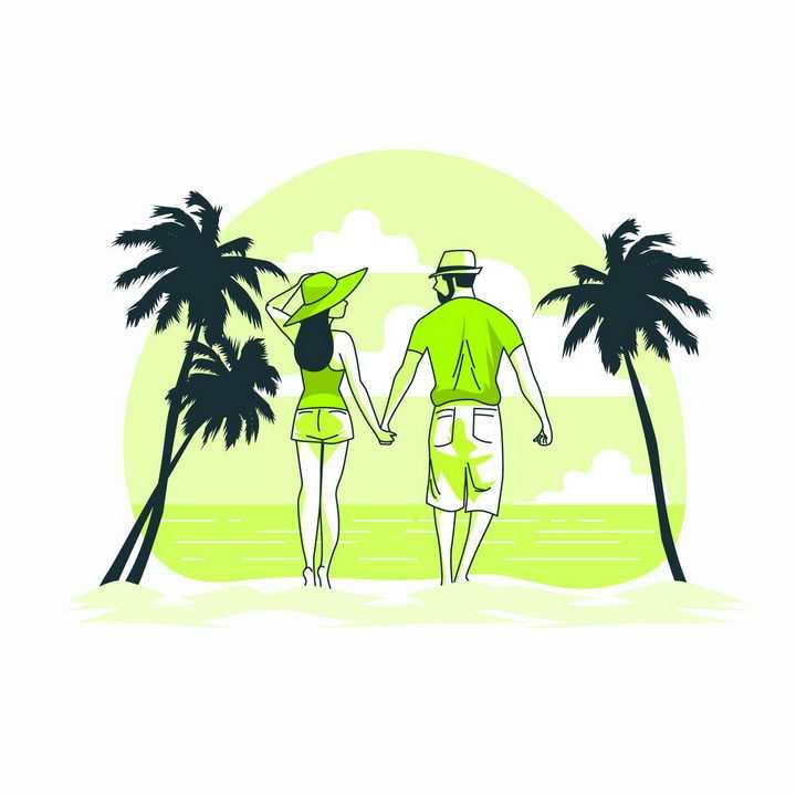 绿色扁平插画风格手牵手在热带海滩散步的情侣png图片免抠矢量素材